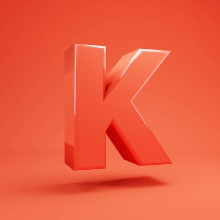 Living Coral letter K uppercase. 3D rendered glossy coral alphabet type for poster, banner, advertisement, decoration.