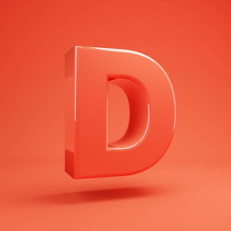 Living Coral letter D uppercase. 3D rendered glossy coral alphabet type for poster, banner, advertisement, decoration.