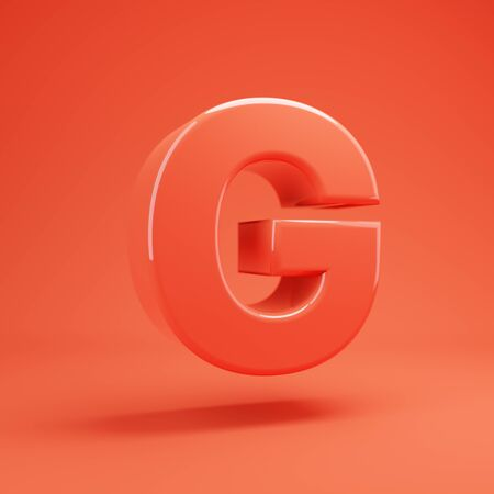 Living Coral letter G uppercase. 3D rendered glossy coral alphabet type for poster, banner, advertisement, decoration. 写真素材 - 128847418