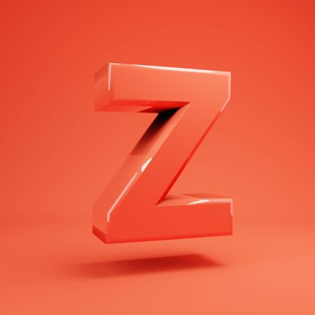 Living Coral letter Z uppercase. 3D rendered glossy coral alphabet type for poster, banner, advertisement, decoration. 写真素材 - 128847404