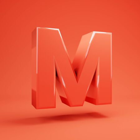 Living Coral letter M uppercase. 3D rendered glossy coral alphabet type for poster, banner, advertisement, decoration. 写真素材 - 128847434
