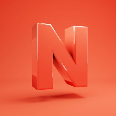 Living Coral letter N uppercase. 3D rendered glossy coral alphabet type for poster, banner, advertisement, decoration. 写真素材 - 128847440
