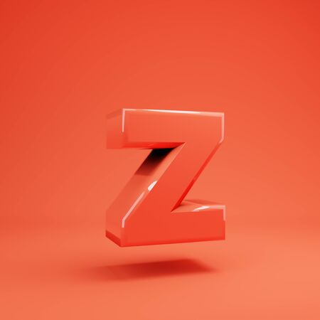 Living Coral letter Z lowercase. 3D rendered glossy coral alphabet type for poster, banner, advertisement, decoration. 写真素材 - 128847466