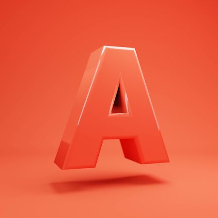 Living Coral letter A uppercase. 3D rendered glossy coral alphabet type for poster, banner, advertisement, decoration. 写真素材 - 128847455