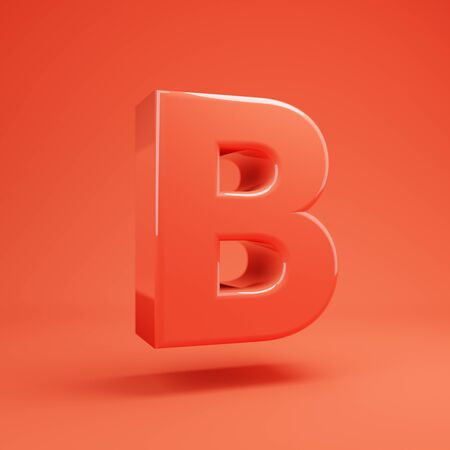 Living Coral letter B uppercase. 3D rendered glossy coral alphabet type for poster, banner, advertisement, decoration.