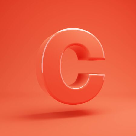Living Coral letter C uppercase. 3D rendered glossy coral alphabet type for poster, banner, advertisement, decoration.