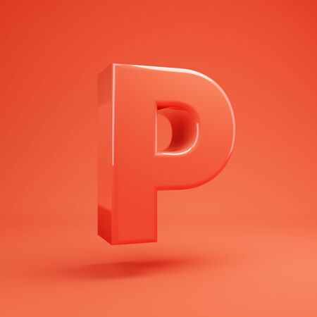 Living Coral letter P uppercase. 3D rendered glossy coral alphabet type for poster, banner, advertisement, decoration.