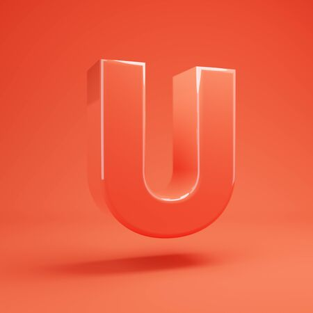 Living Coral letter U uppercase. 3D rendered glossy coral alphabet type for poster, banner, advertisement, decoration. 写真素材