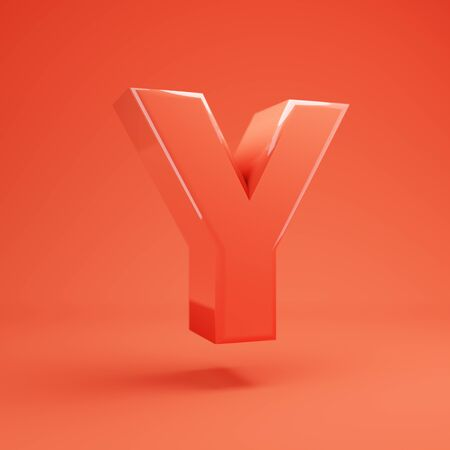 Living Coral letter Y uppercase. 3D rendered glossy coral alphabet type for poster, banner, advertisement, decoration. 写真素材 - 128847482