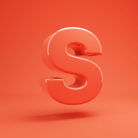 Living Coral letter S uppercase. 3D rendered glossy coral alphabet type for poster, banner, advertisement, decoration. 写真素材