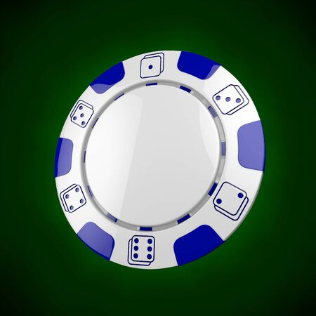 Casino token. Classic casino game 3D chips. Gambling concept, white poker chips with blue design elements on green background.