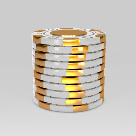 White stacked poker chips. Classic casino game 3D tokens. Gambling concept, white poker chips with golden design elements isolated on white