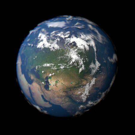 Pianeta Terra nel concetto di macro con la Russia a fuoco. 3D rendering globo.
