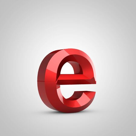 Red glossy chiseled letter E lowercase isolated on white. 3d rendered font.