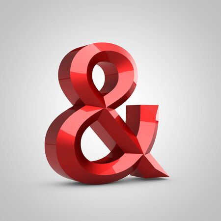 Red glossy chiseled ampersand symbol isolated on white. 3d rendered font. Stock Photo