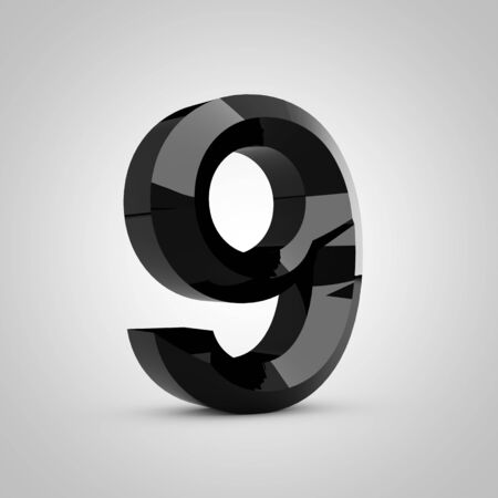 Black number 9. Chiseled glossy font isolated on white. 3d rendered alphabet. 写真素材