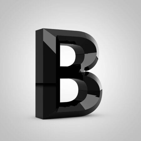 Black letter B uppercase. Chiseled glossy font isolated on white. 3d rendered alphabet.