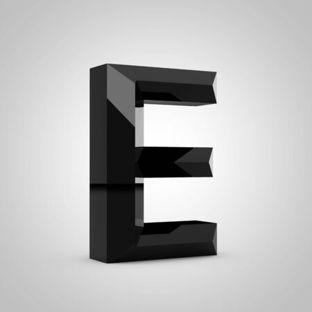 Black letter E uppercase. Chiseled glossy font isolated on white. 3d rendered alphabet.