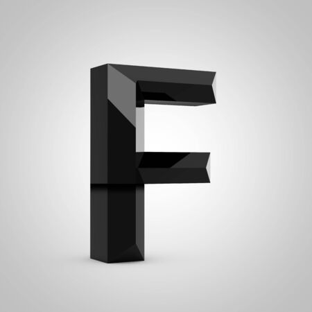 Black letter F uppercase. Chiseled glossy font isolated on white. 3d rendered alphabet. 写真素材