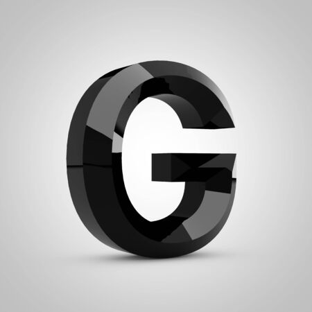 Black letter G uppercase. Chiseled glossy font isolated on white. 3d rendered alphabet.