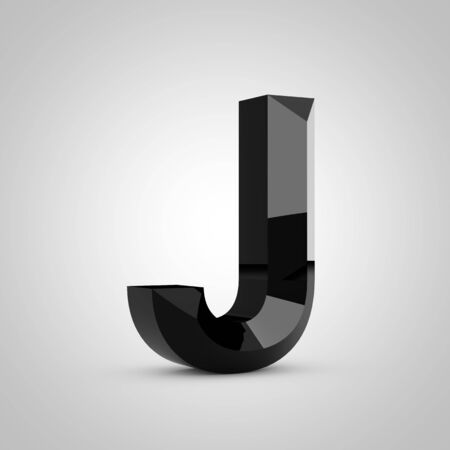 Black letter J uppercase. Chiseled glossy font isolated on white. 3d rendered alphabet. 写真素材