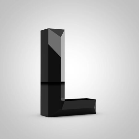 Black letter L uppercase. Chiseled glossy font isolated on white. 3d rendered alphabet.