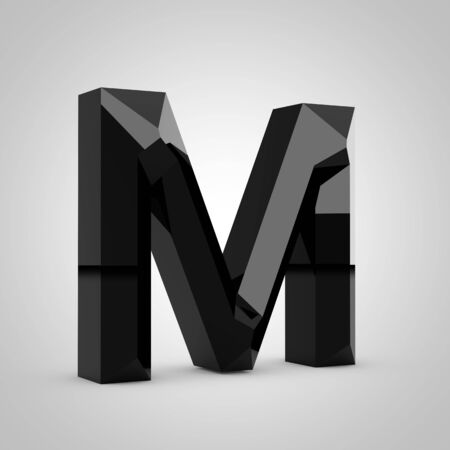Black letter M uppercase. Chiseled glossy font isolated on white. 3d rendered alphabet.