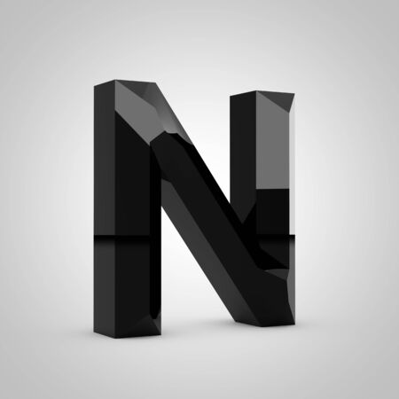 Black letter N uppercase. Chiseled glossy font isolated on white. 3d rendered alphabet.