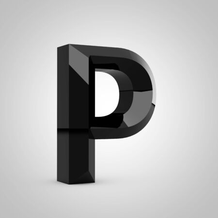 Black letter P uppercase. Chiseled glossy font isolated on white. 3d rendered alphabet.