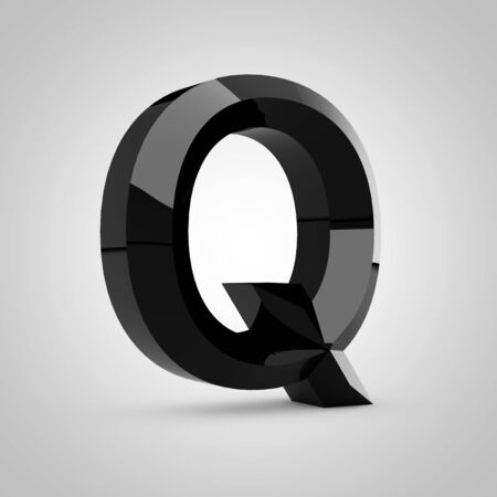 Black letter Q uppercase. Chiseled glossy font isolated on white. 3d rendered alphabet. 写真素材