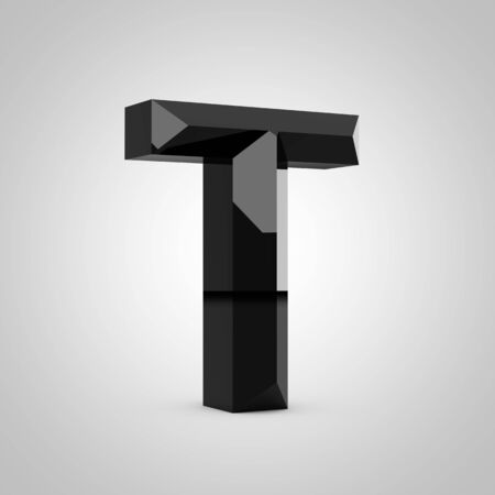 Black letter T uppercase. Chiseled glossy font isolated on white. 3d rendered alphabet. 写真素材