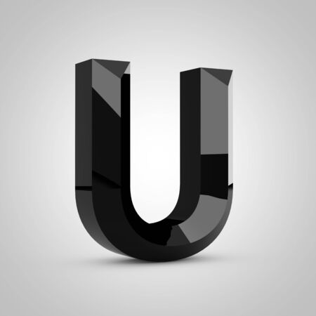 Black letter U uppercase. Chiseled glossy font isolated on white. 3d rendered alphabet.