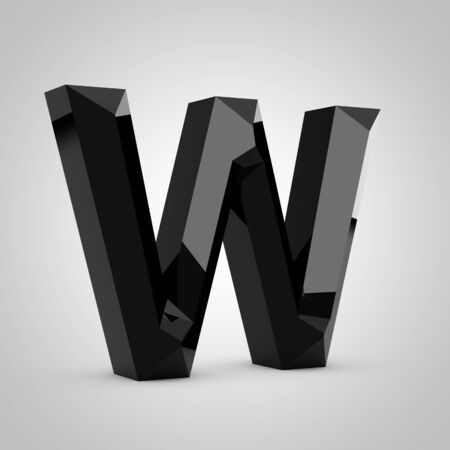 Black letter W uppercase. Chiseled glossy font isolated on white. 3d rendered alphabet. 写真素材