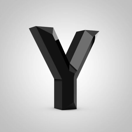Black letter Y uppercase. Chiseled glossy font isolated on white. 3d rendered alphabet. 写真素材