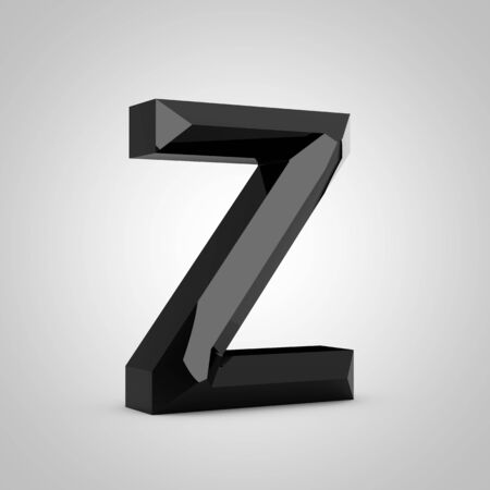 Black letter Z uppercase. Chiseled glossy font isolated on white. 3d rendered alphabet. 写真素材