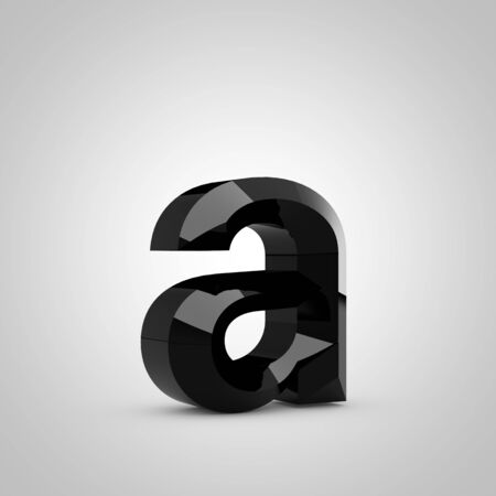 Black letter A lowercase. Chiseled glossy font isolated on white. 3d rendered alphabet.
