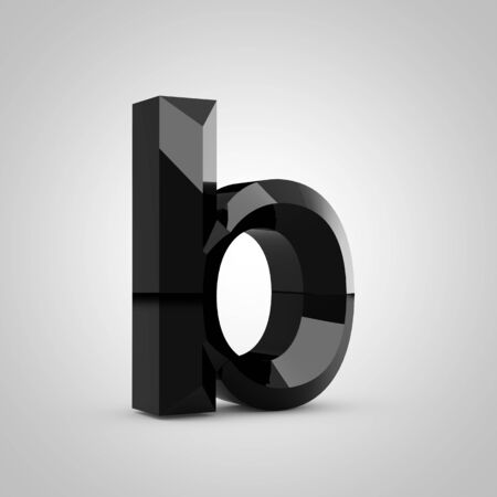 Black letter B lowercase. Chiseled glossy font isolated on white. 3d rendered alphabet.