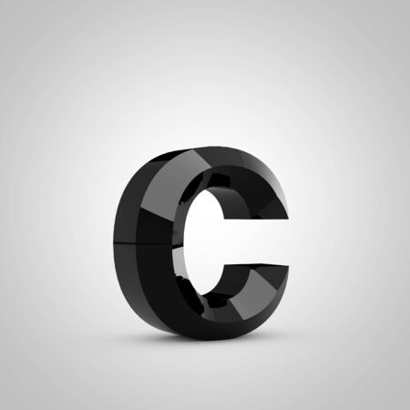 Black letter C lowercase. Chiseled glossy font isolated on white. 3d rendered alphabet.