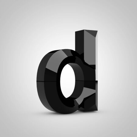 Black letter D lowercase. Chiseled glossy font isolated on white. 3d rendered alphabet.