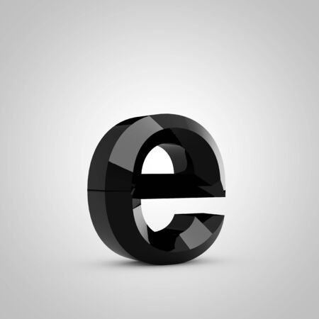 Black letter E lowercase. Chiseled glossy font isolated on white. 3d rendered alphabet. 写真素材