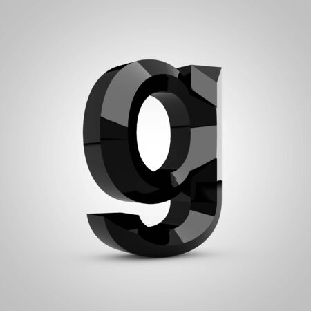 Black letter G lowercase. Chiseled glossy font isolated on white. 3d rendered alphabet.