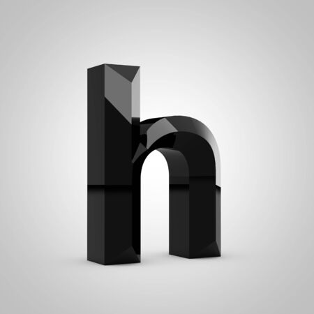 Black letter H lowercase. Chiseled glossy font isolated on white. 3d rendered alphabet. 写真素材