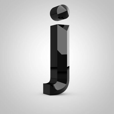 Black letter J lowercase. Chiseled glossy font isolated on white. 3d rendered alphabet.