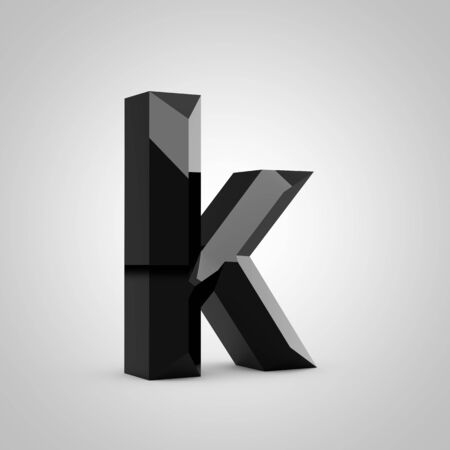 Black letter K lowercase. Chiseled glossy font isolated on white. 3d rendered alphabet.