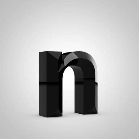 Black letter N lowercase. Chiseled glossy font isolated on white. 3d rendered alphabet. 写真素材