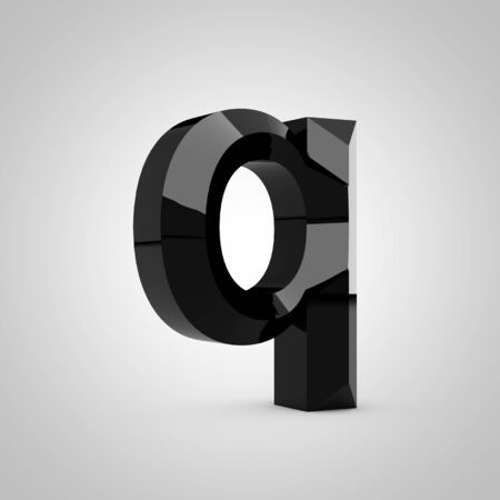 Black letter Q lowercase. Chiseled glossy font isolated on white. 3d rendered alphabet.