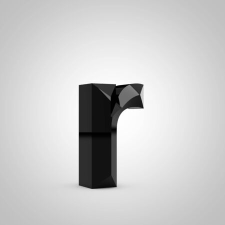 Black letter R lowercase. Chiseled glossy font isolated on white. 3d rendered alphabet.