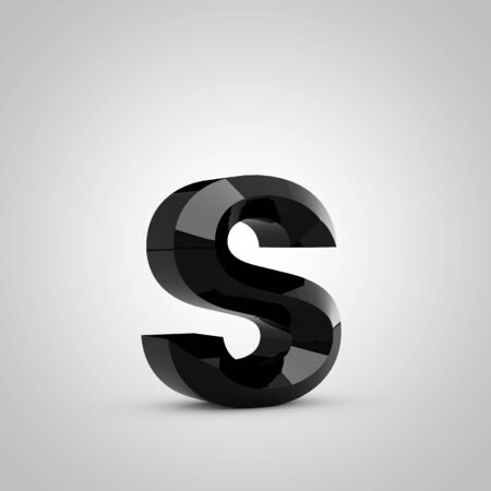 Black letter S lowercase. Chiseled glossy font isolated on white. 3d rendered alphabet. 写真素材