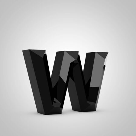 Black letter W lowercase. Chiseled glossy font isolated on white. 3d rendered alphabet.