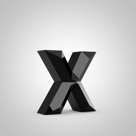 Black letter X lowercase. Chiseled glossy font isolated on white. 3d rendered alphabet.